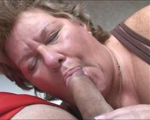 Big grandma sucking dick slowly and drink cum