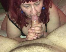 Wagtail007 enthusiastic blowjob. Mature BBW redhead